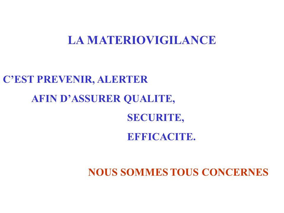 LA MATERIOVIGILANCE C'EST PREVENIR, ALERTER AFIN D'ASSURER QUALITE,