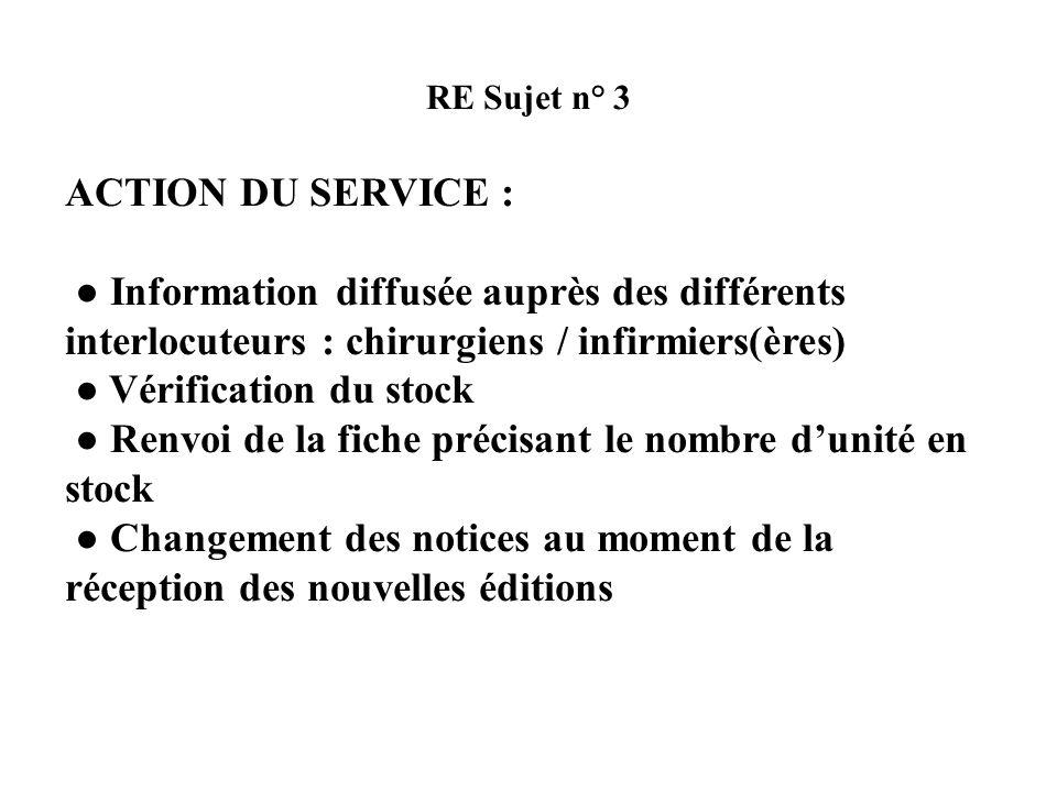 ● Vérification du stock