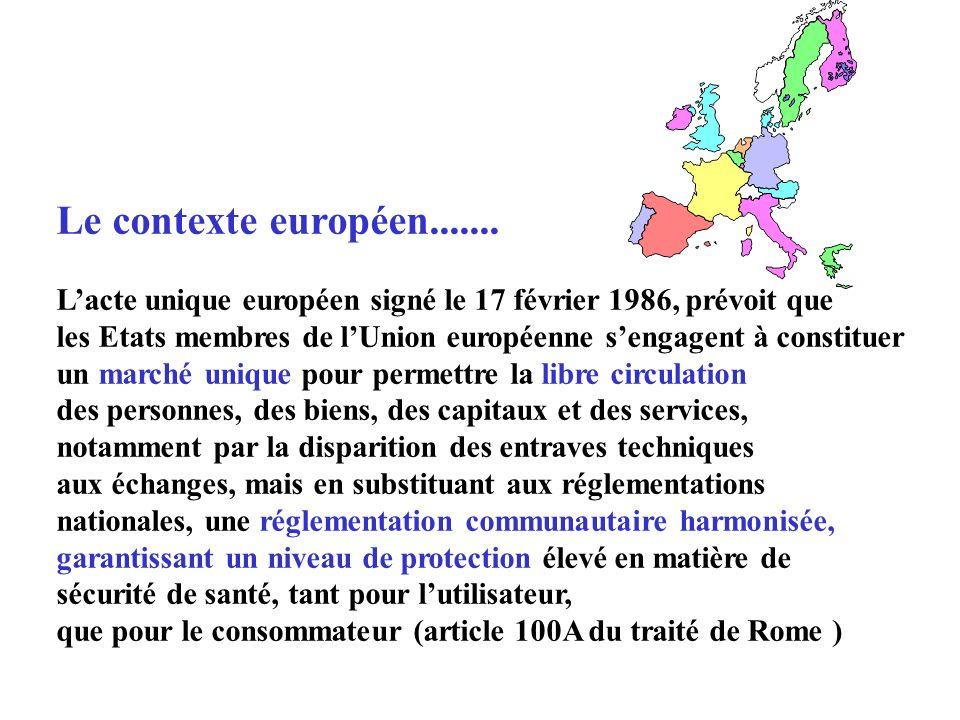 Le contexte européen....... L'acte unique européen signé le 17 février 1986, prévoit que.