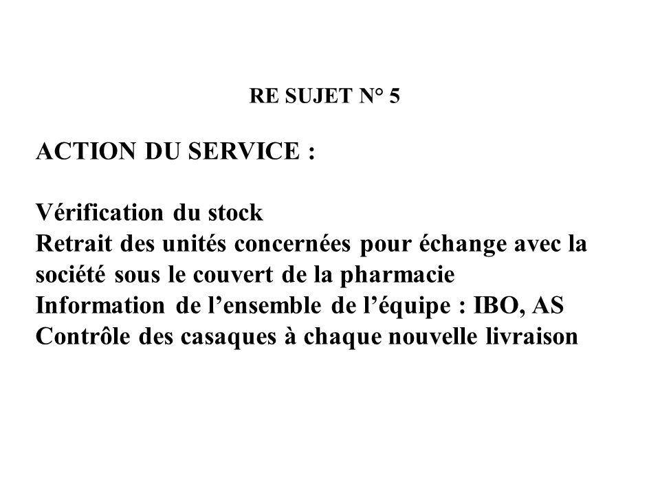 Information de l'ensemble de l'équipe : IBO, AS
