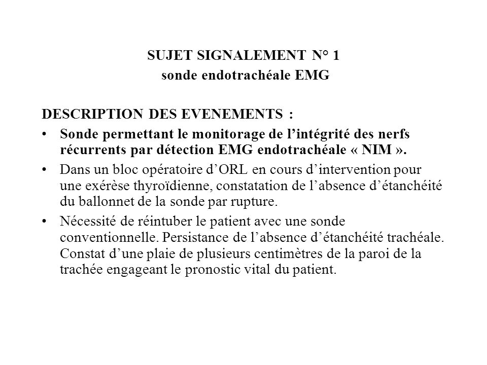 sonde endotrachéale EMG