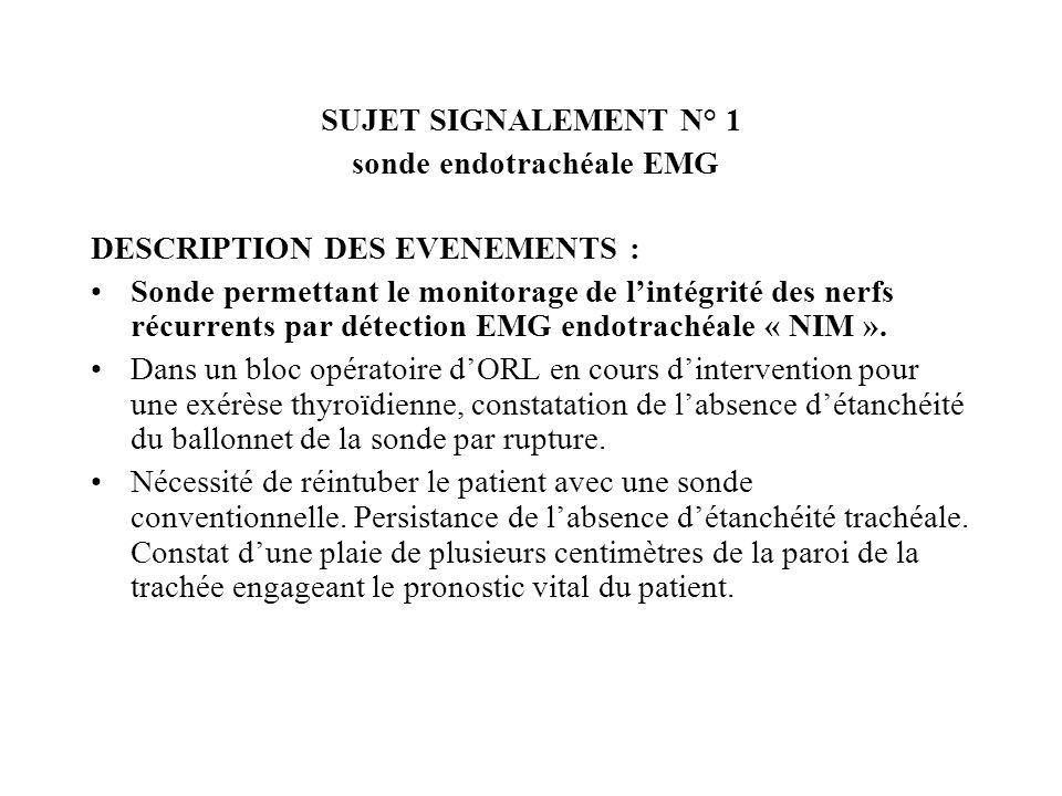 sonde endotrachéale EMG