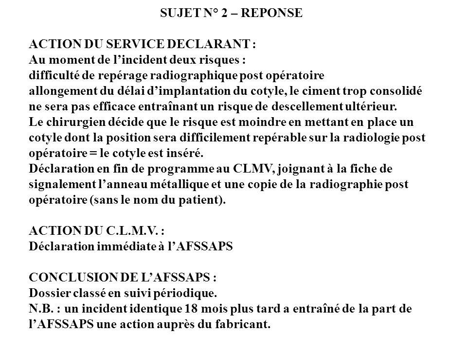 SUJET N° 2 – REPONSE ACTION DU SERVICE DECLARANT : Au moment de l'incident deux risques : difficulté de repérage radiographique post opératoire.