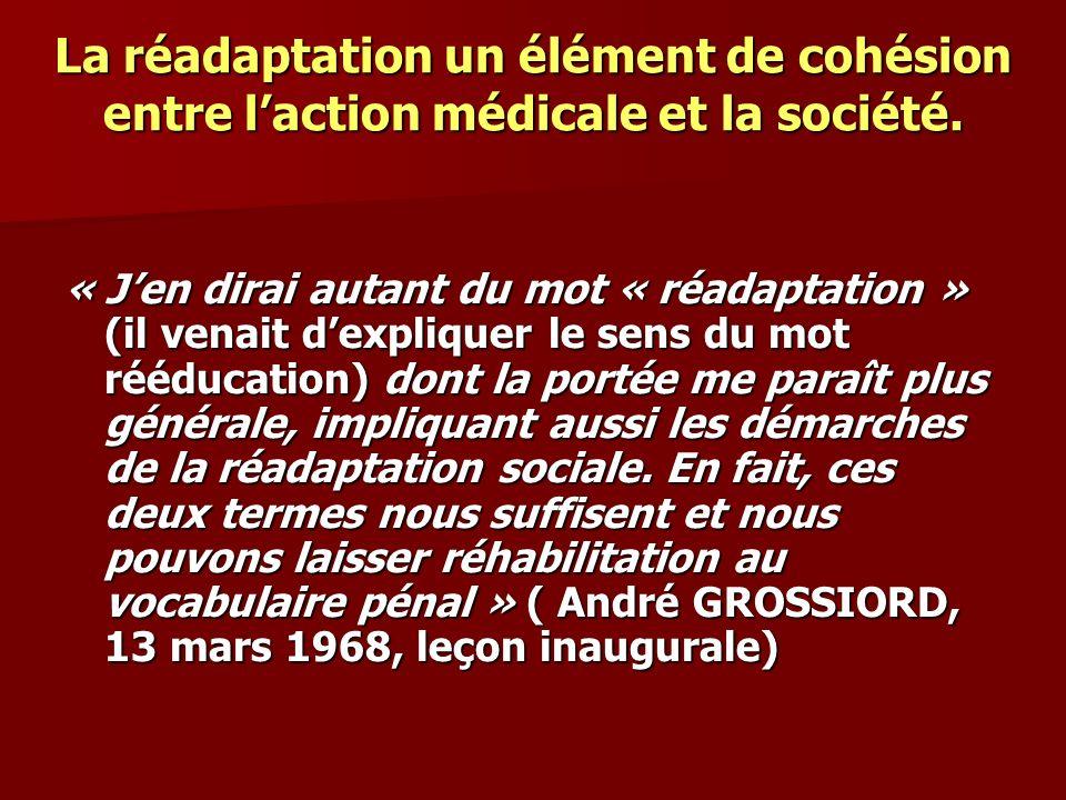 La réadaptation un élément de cohésion entre l'action médicale et la société.