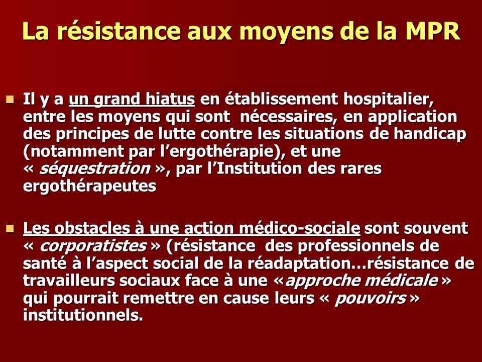 La résistance aux moyens de la MPR