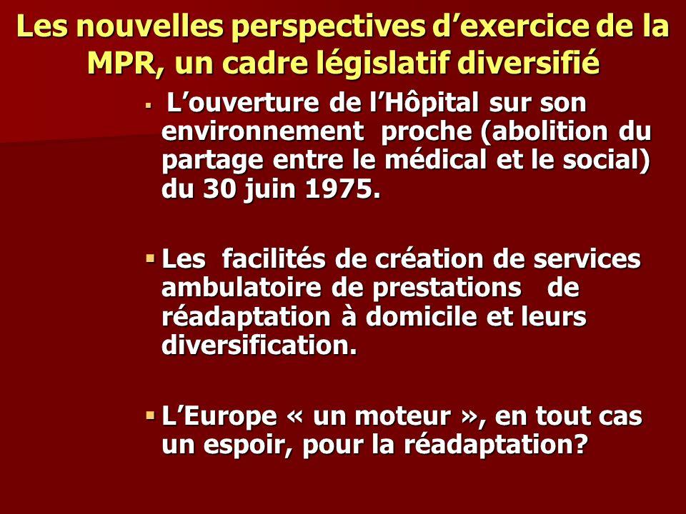 Les nouvelles perspectives d'exercice de la MPR, un cadre législatif diversifié