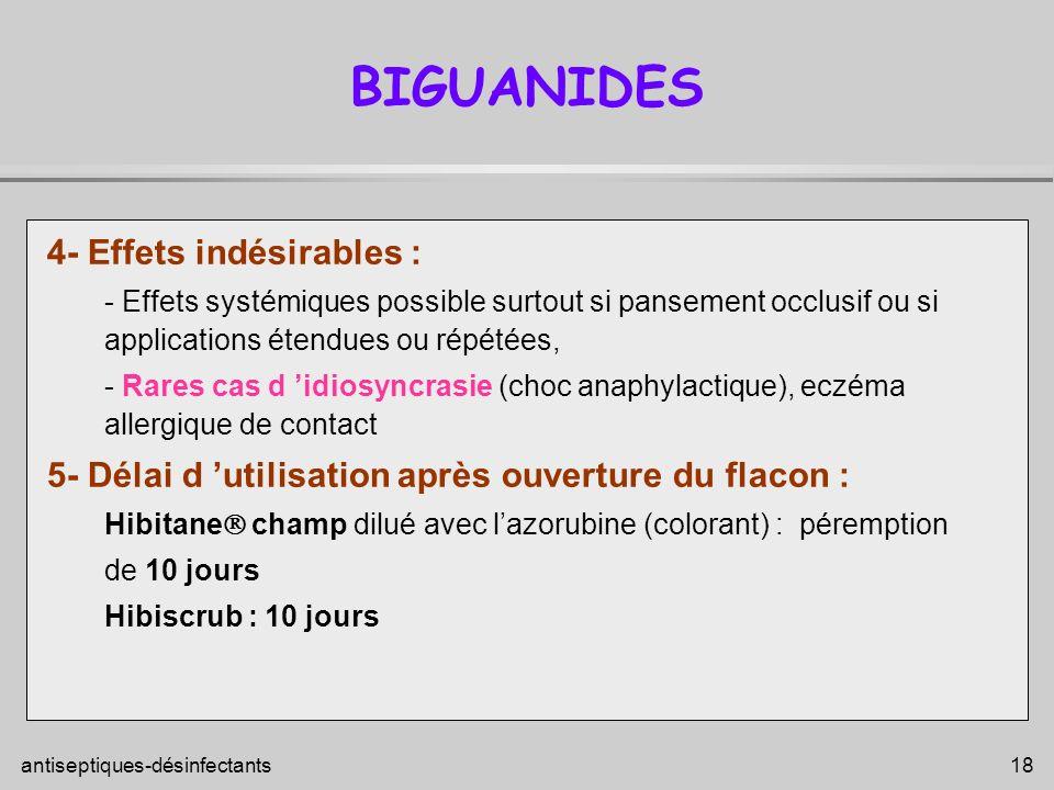 BIGUANIDES 4- Effets indésirables :