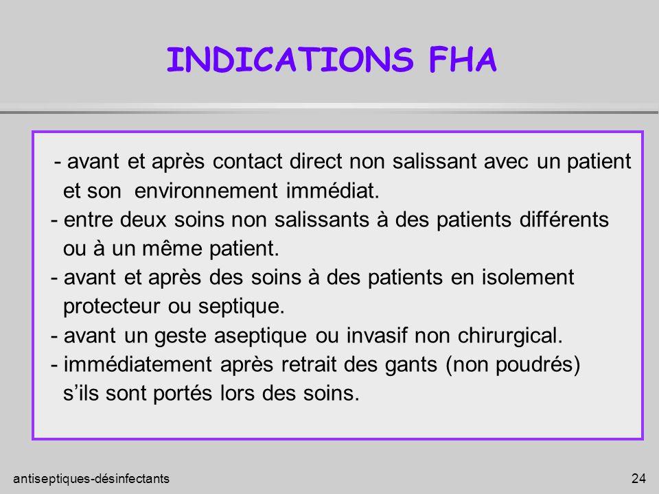 INDICATIONS FHA - avant et après contact direct non salissant avec un patient. et son environnement immédiat.