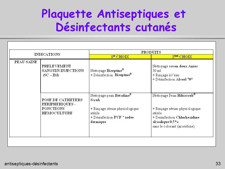 Plaquette Antiseptiques et Désinfectants cutanés