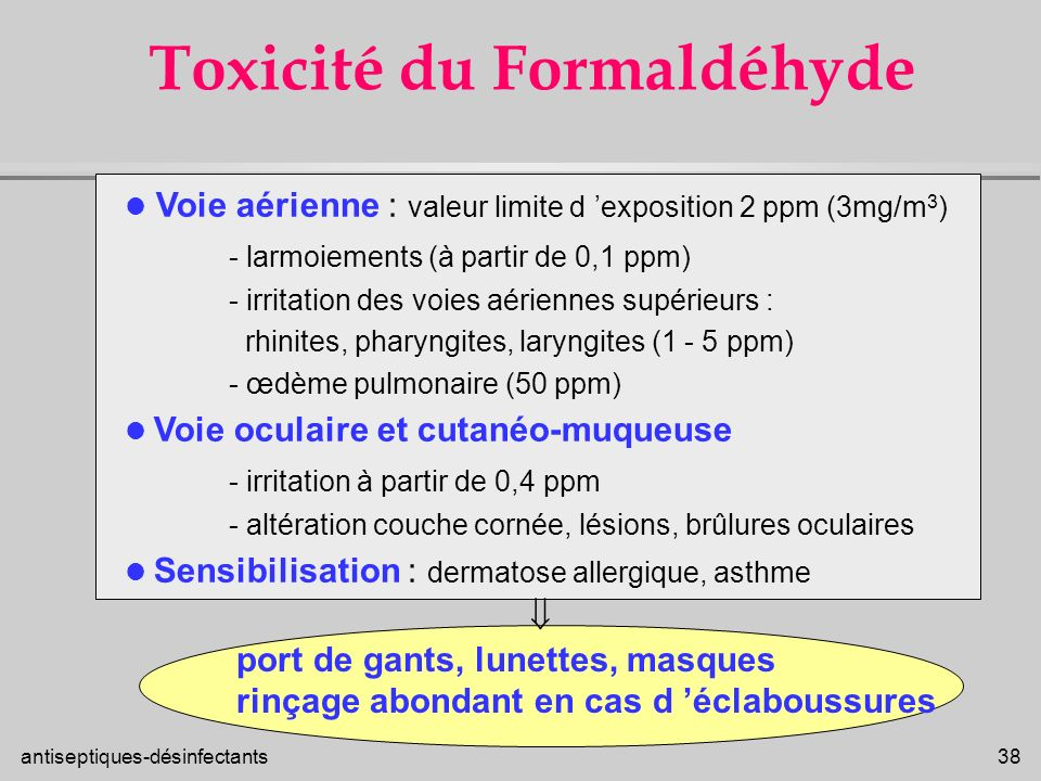 Toxicité du Formaldéhyde
