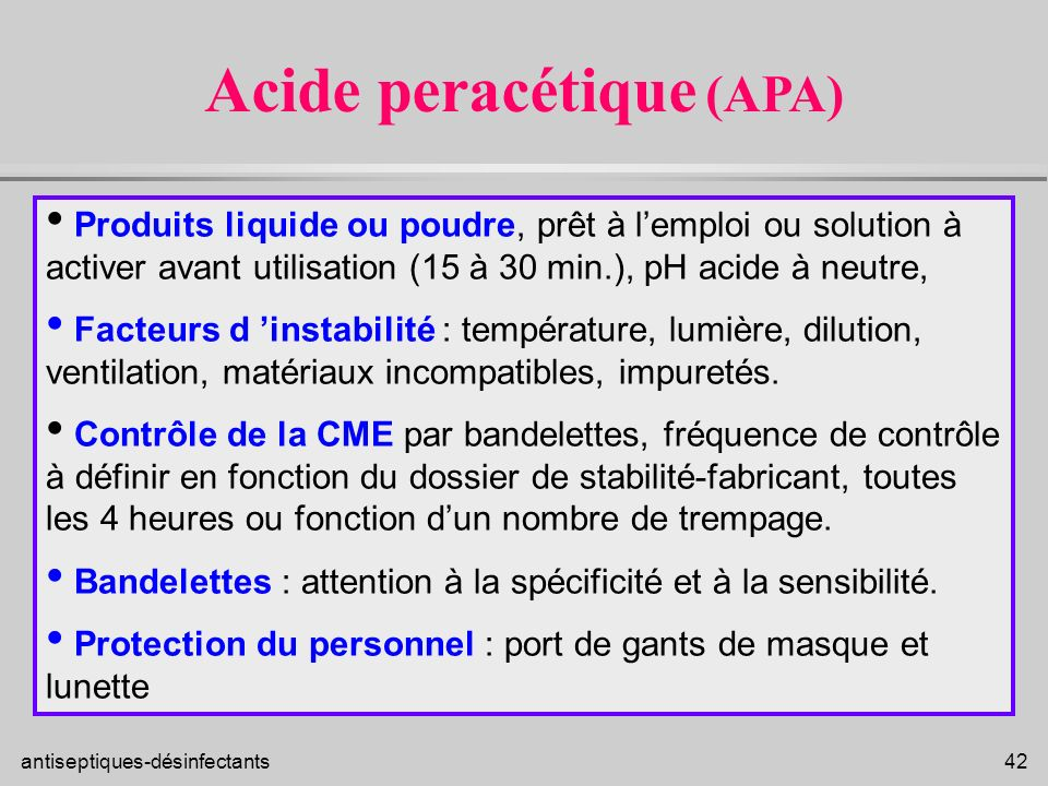 Acide peracétique (APA)