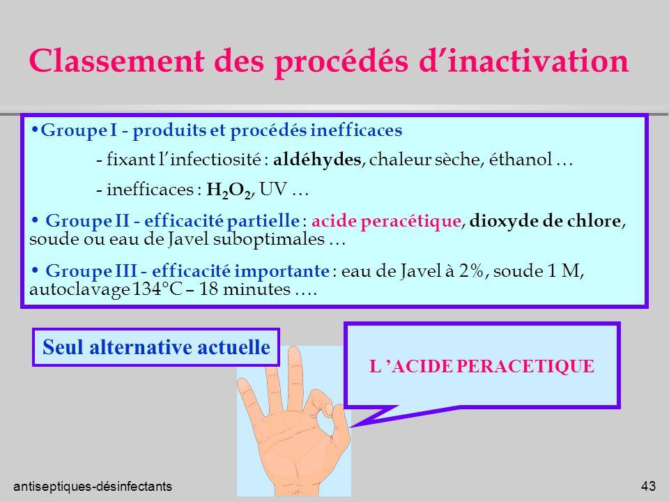 Classement des procédés d'inactivation