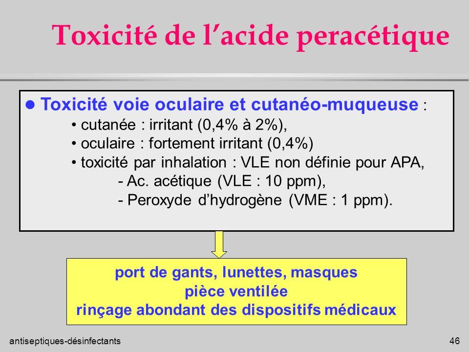 Toxicité de l'acide peracétique
