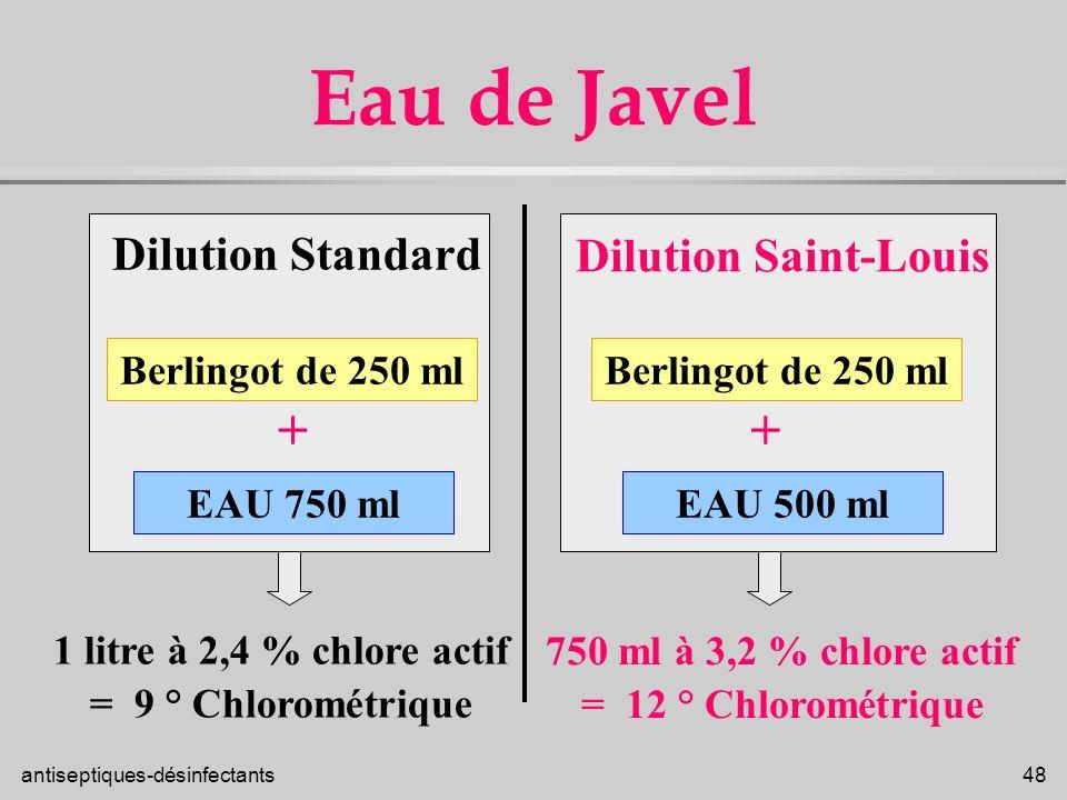 Eau de Javel + + Dilution Standard Dilution Saint-Louis
