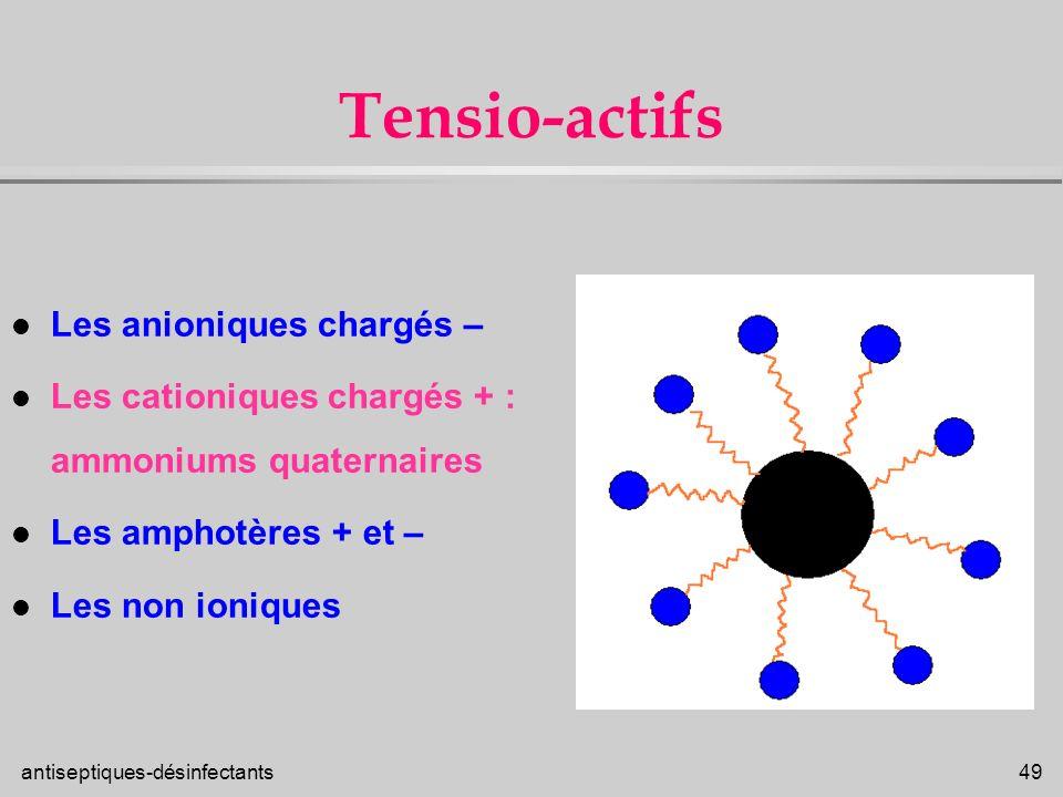 Tensio-actifs Les anioniques chargés –