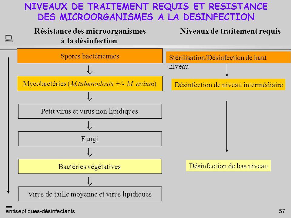   - NIVEAUX DE TRAITEMENT REQUIS ET RESISTANCE
