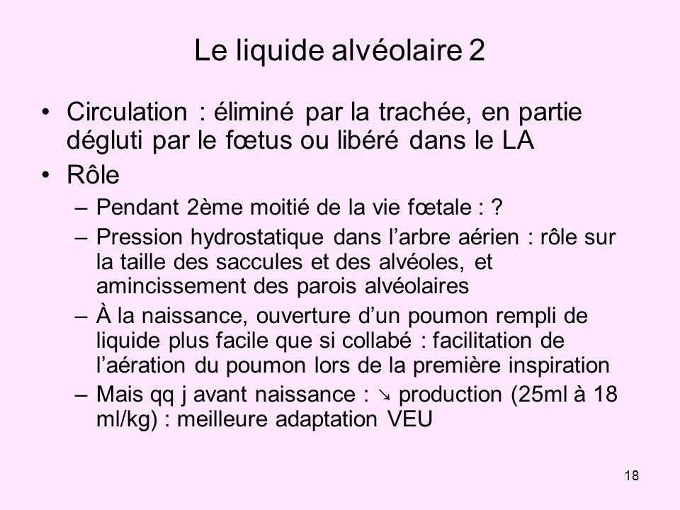 Le liquide alvéolaire 2 Circulation : éliminé par la trachée, en partie dégluti par le fœtus ou libéré dans le LA.
