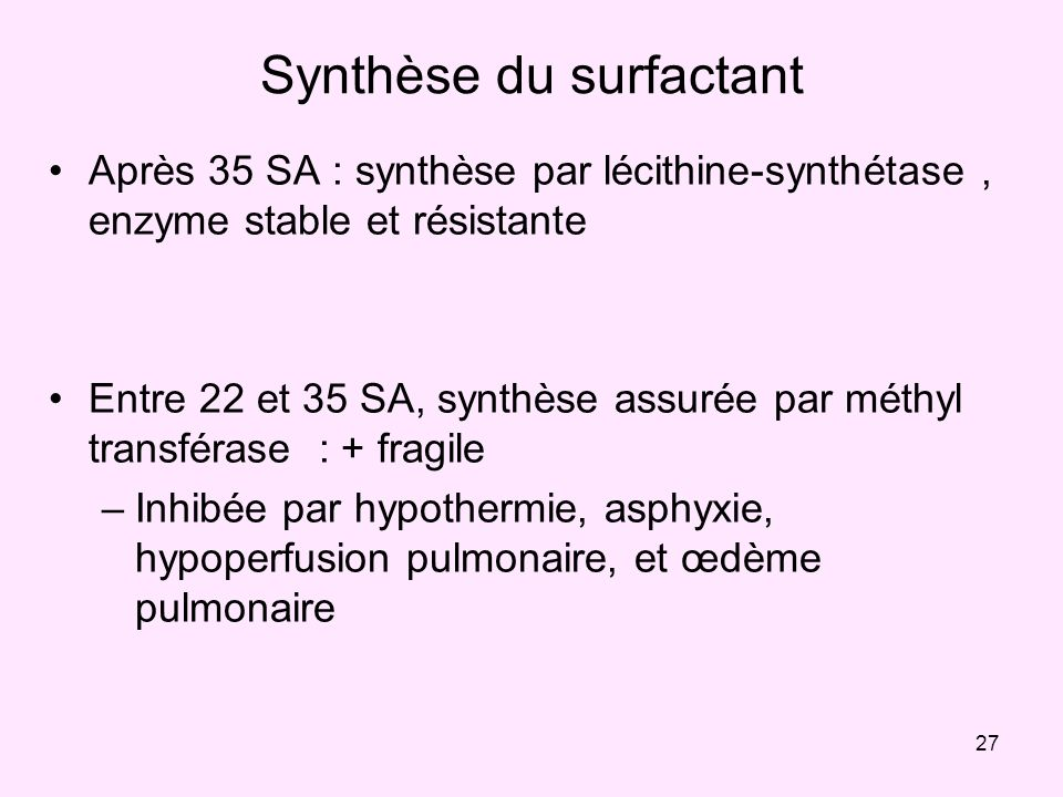 Synthèse du surfactant