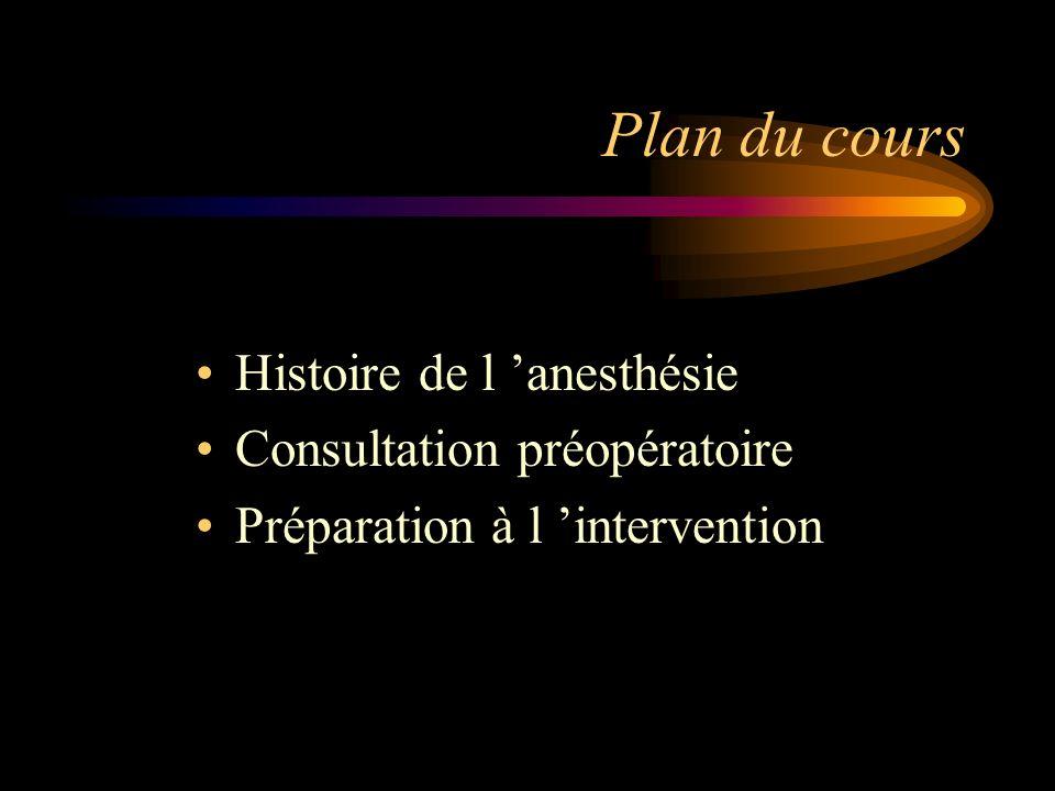 Plan du cours Histoire de l 'anesthésie Consultation préopératoire