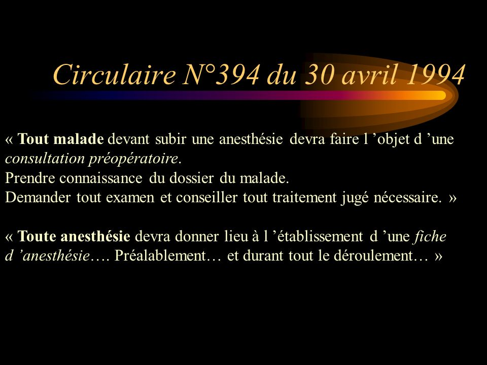 Circulaire N°394 du 30 avril 1994 « Tout malade devant subir une anesthésie devra faire l 'objet d 'une consultation préopératoire.