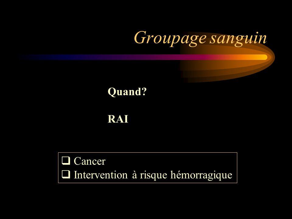 Groupage sanguin Quand RAI Cancer Intervention à risque hémorragique
