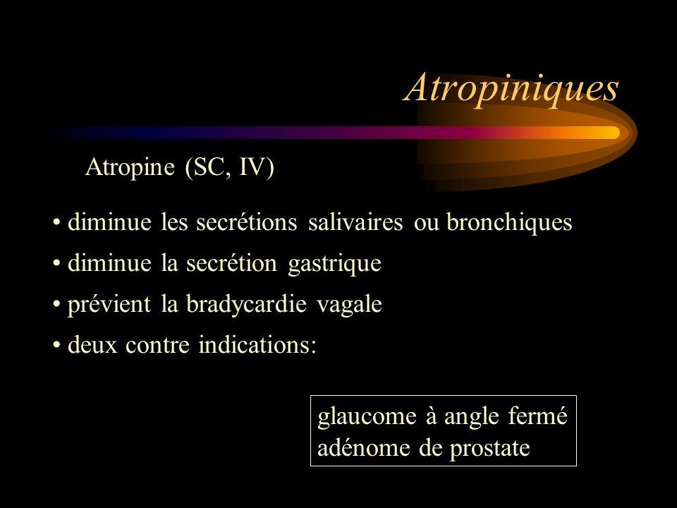 Atropiniques Atropine (SC, IV)