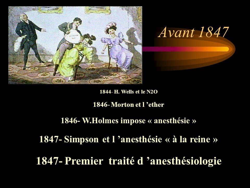 Avant 1847 1847- Premier traité d 'anesthésiologie