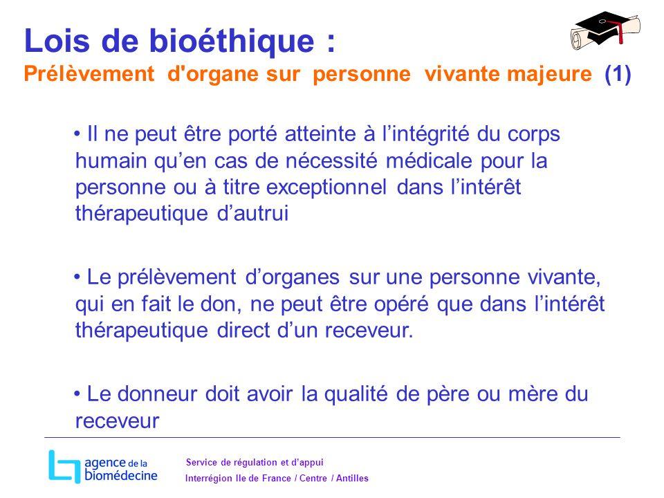 Lois de bioéthique : Prélèvement d organe sur personne vivante majeure (1)