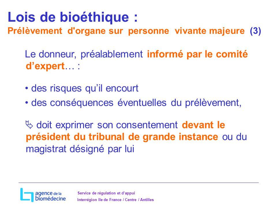 Lois de bioéthique : Prélèvement d organe sur personne vivante majeure (3)