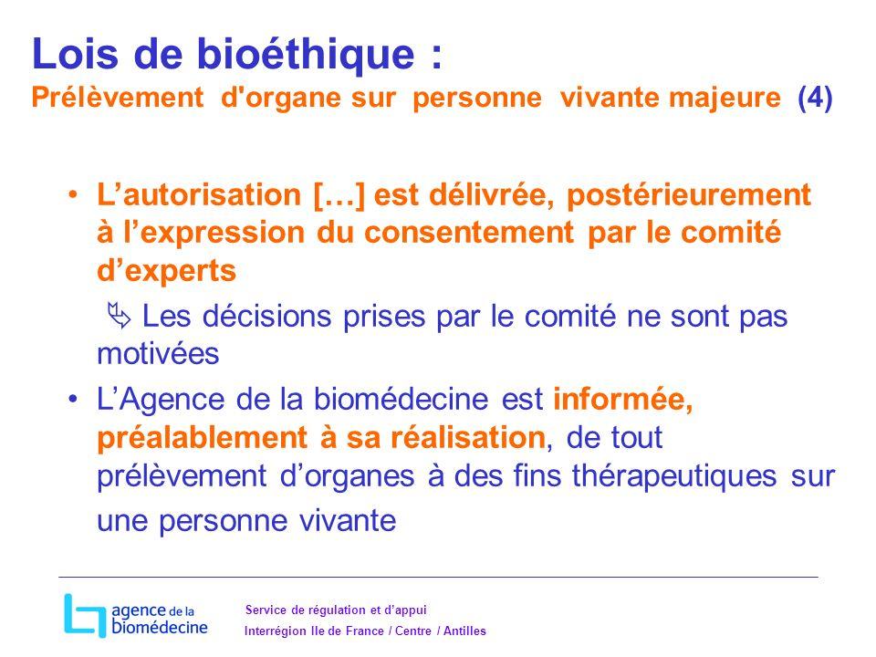 Lois de bioéthique : Prélèvement d organe sur personne vivante majeure (4)