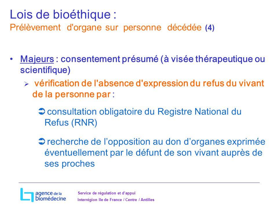 Lois de bioéthique : Prélèvement d organe sur personne décédée (4)