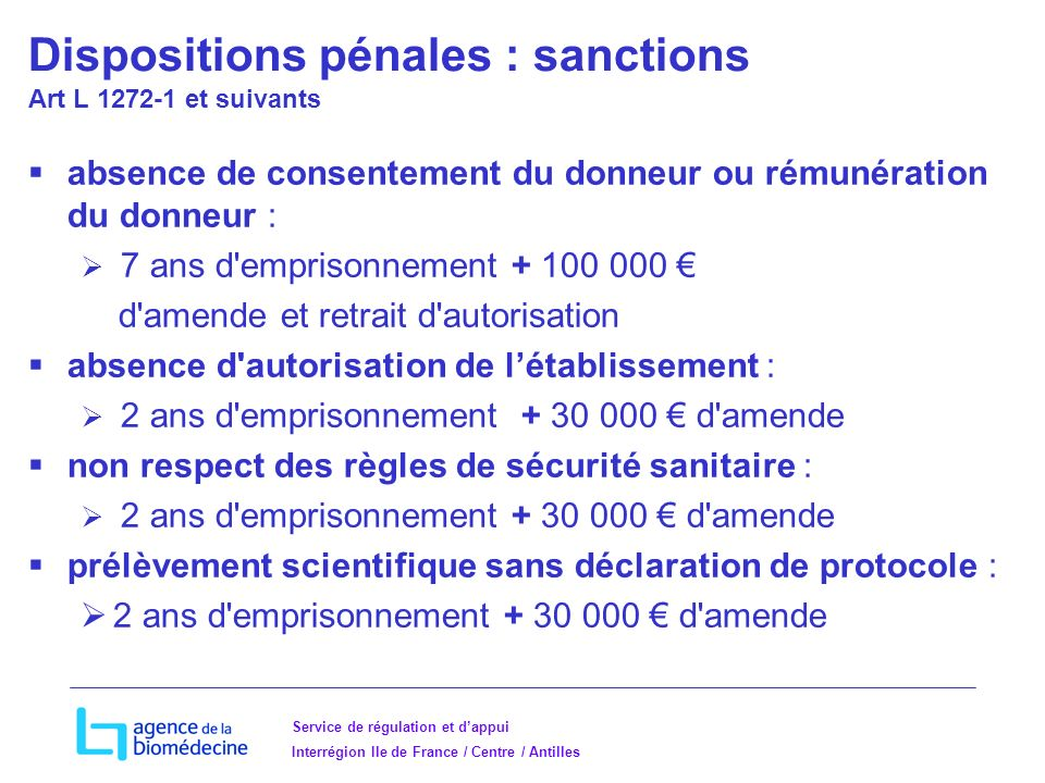 Dispositions pénales : sanctions Art L 1272-1 et suivants