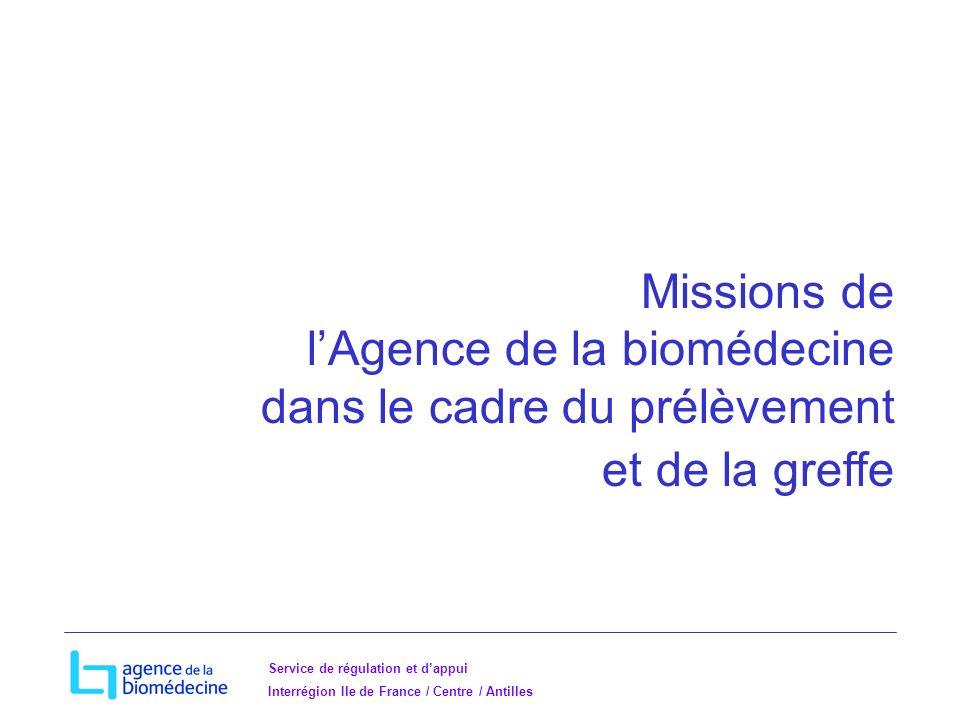 Missions de l'Agence de la biomédecine dans le cadre du prélèvement et de la greffe