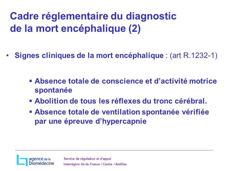 Cadre réglementaire du diagnostic de la mort encéphalique (2)