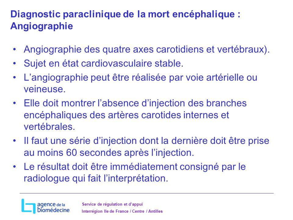 Diagnostic paraclinique de la mort encéphalique : Angiographie