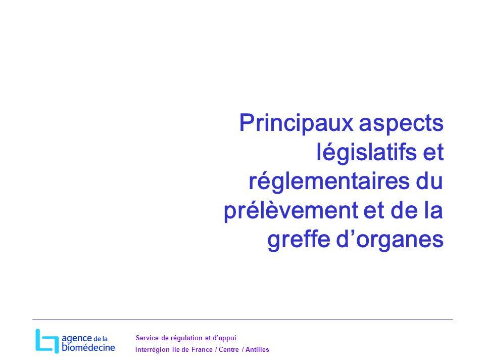 Principaux aspects législatifs et réglementaires du prélèvement et de la greffe d'organes