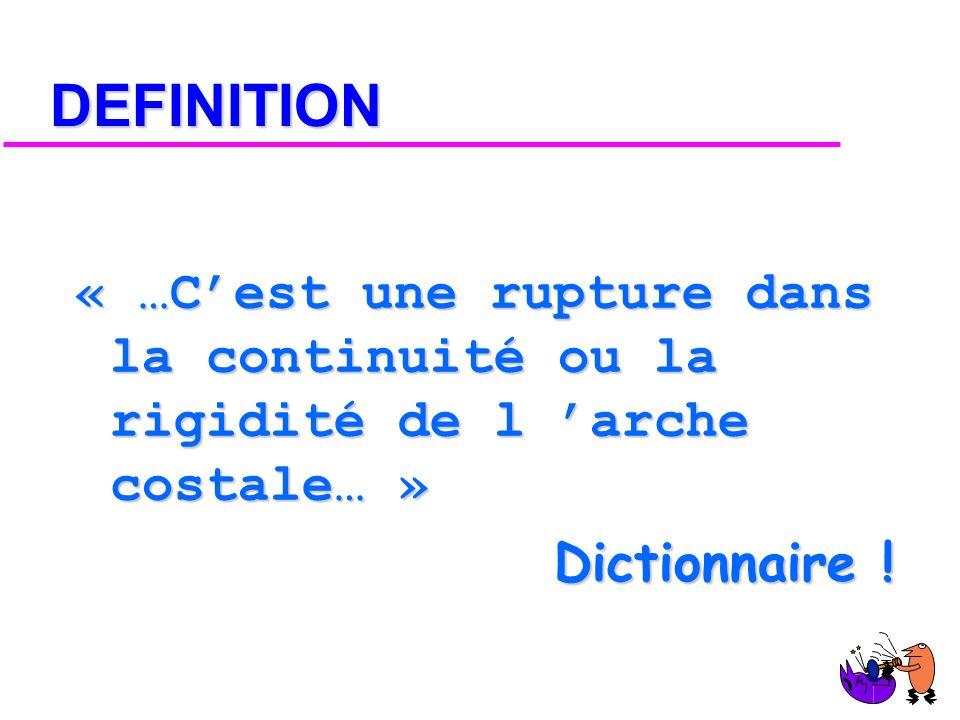 DEFINITION « …C'est une rupture dans la continuité ou la rigidité de l 'arche costale… » Dictionnaire !