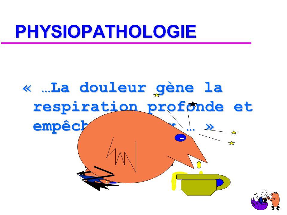 PHYSIOPATHOLOGIE « …La douleur gène la respiration profonde et empêche la toux … » AIEEEEE