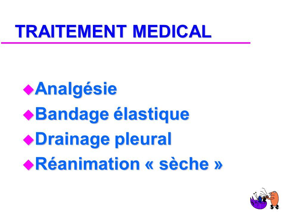TRAITEMENT MEDICAL Analgésie Bandage élastique Drainage pleural Réanimation « sèche »