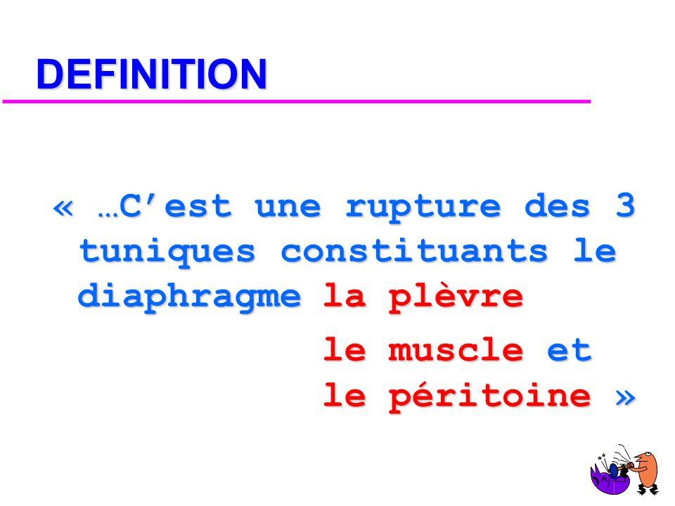 DEFINITION « …C'est une rupture des 3 tuniques constituants le diaphragme la plèvre.