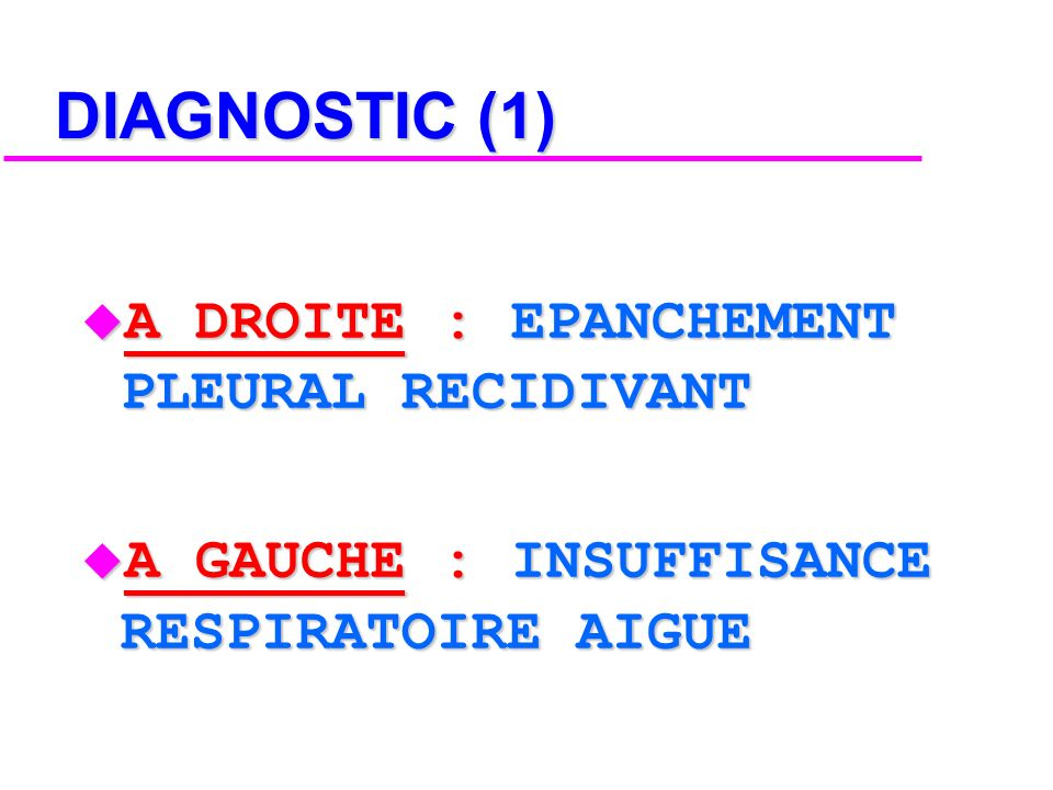 DIAGNOSTIC (1) A DROITE : EPANCHEMENT PLEURAL RECIDIVANT