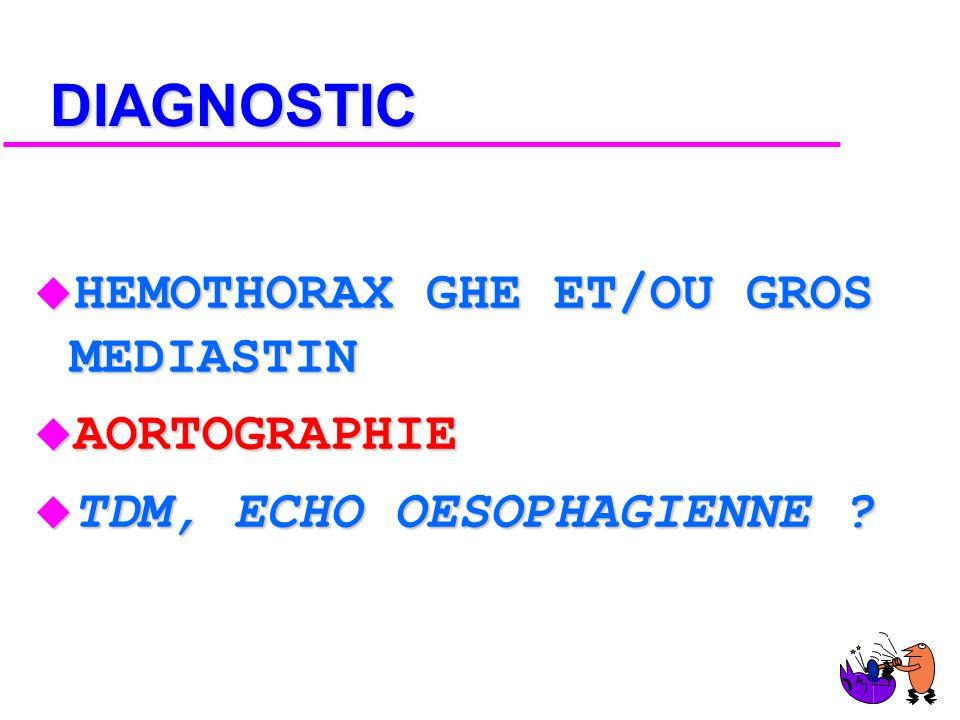 DIAGNOSTIC HEMOTHORAX GHE ET/OU GROS MEDIASTIN AORTOGRAPHIE
