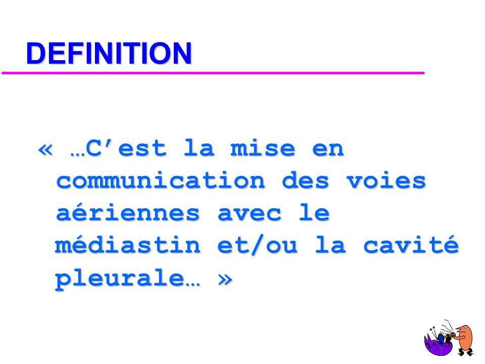 DEFINITION « …C'est la mise en communication des voies aériennes avec le médiastin et/ou la cavité pleurale… »