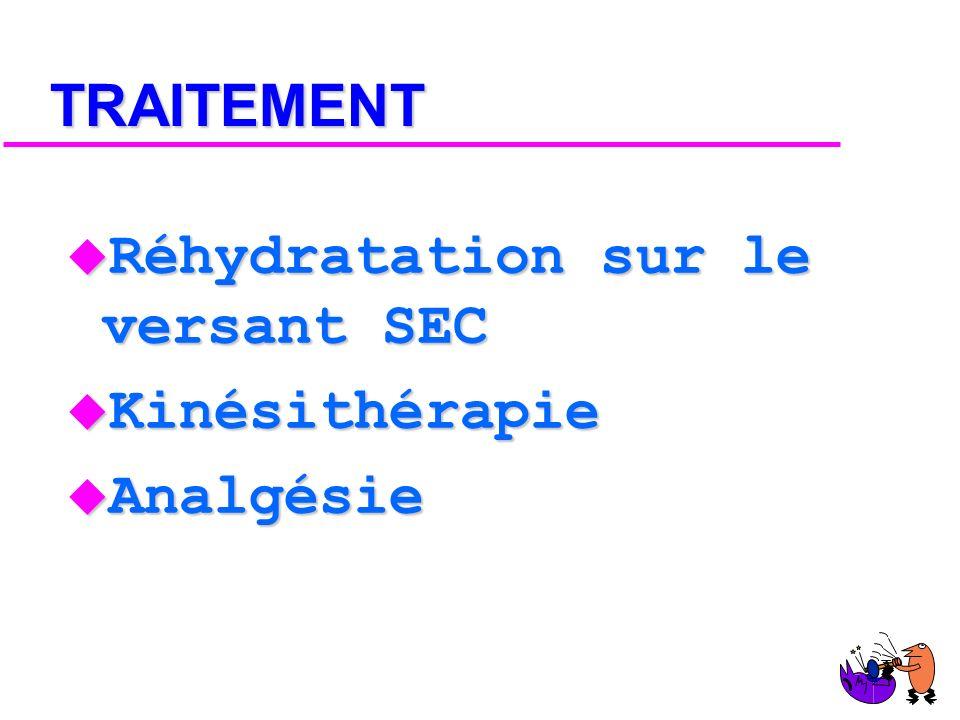 TRAITEMENT Réhydratation sur le versant SEC Kinésithérapie Analgésie