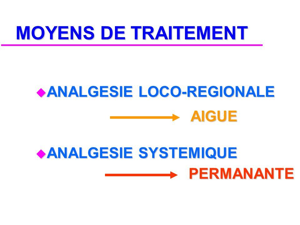 MOYENS DE TRAITEMENT ANALGESIE LOCO-REGIONALE ANALGESIE SYSTEMIQUE