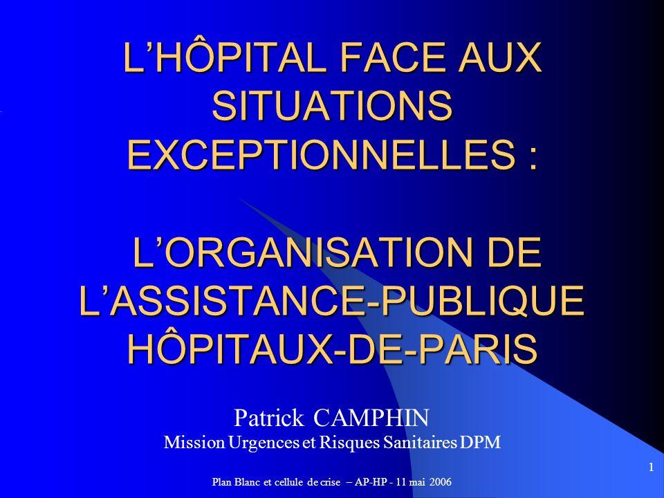 L'HÔPITAL FACE AUX SITUATIONS EXCEPTIONNELLES : L'ORGANISATION DE L'ASSISTANCE-PUBLIQUE HÔPITAUX-DE-PARIS
