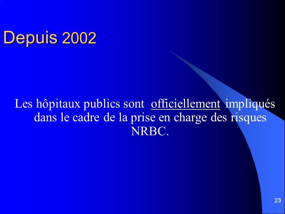 Depuis 2002 Les hôpitaux publics sont officiellement impliqués dans le cadre de la prise en charge des risques NRBC.
