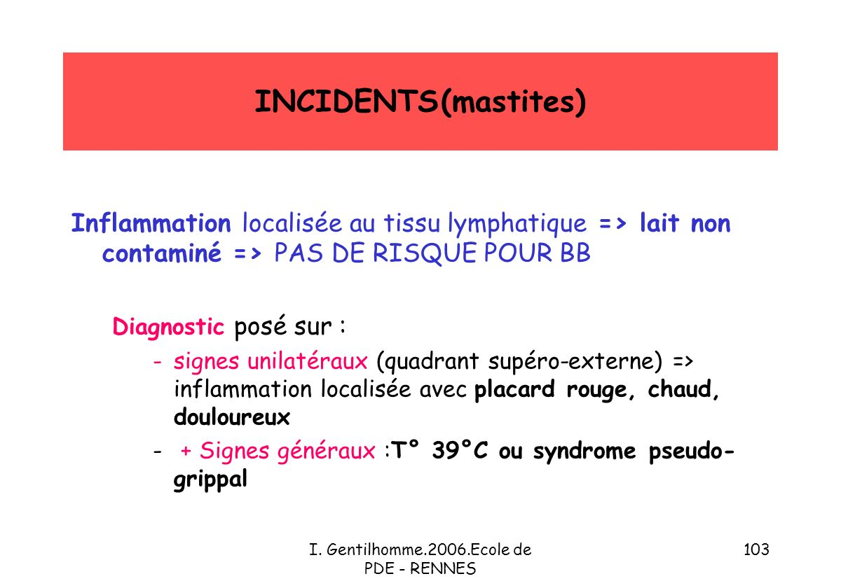 I. Gentilhomme.2006.Ecole de PDE - RENNES