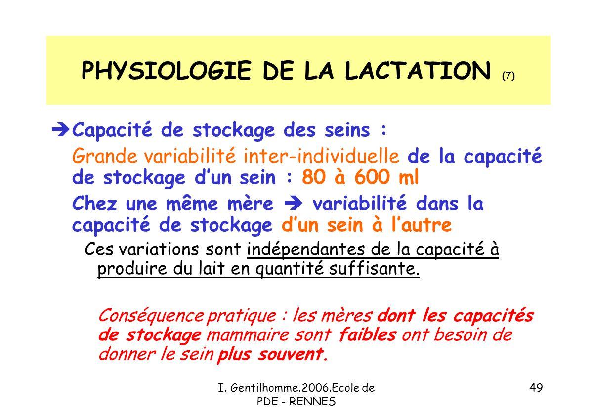 PHYSIOLOGIE DE LA LACTATION (7)