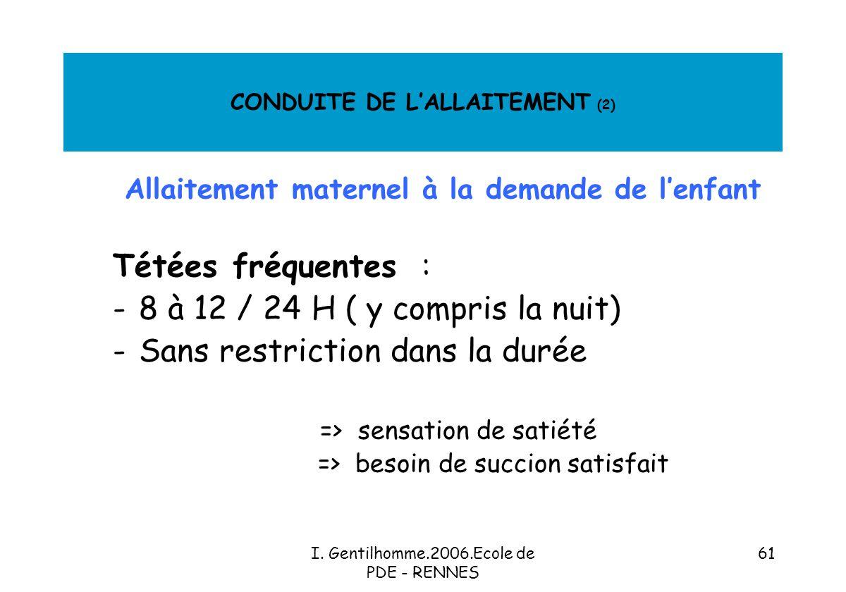 CONDUITE DE L'ALLAITEMENT (2)